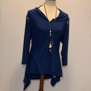 Size xl Chaus New York blue zip sleeve top